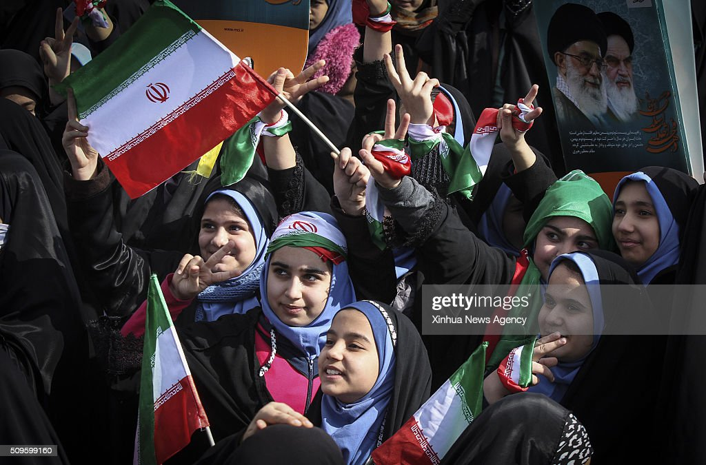TEHRAN, Feb. 11, 2016 -- Iranian schoolgirls attend a rally to mark the 37th anniversary of the Islamic revolution at Azadi Square in Tehran, Iran, Feb. 11, 2016. Hundreds of thousands of Iranians celebrated nationwide the 37th anniversary of the victory of Islamic revolution on Thursday.