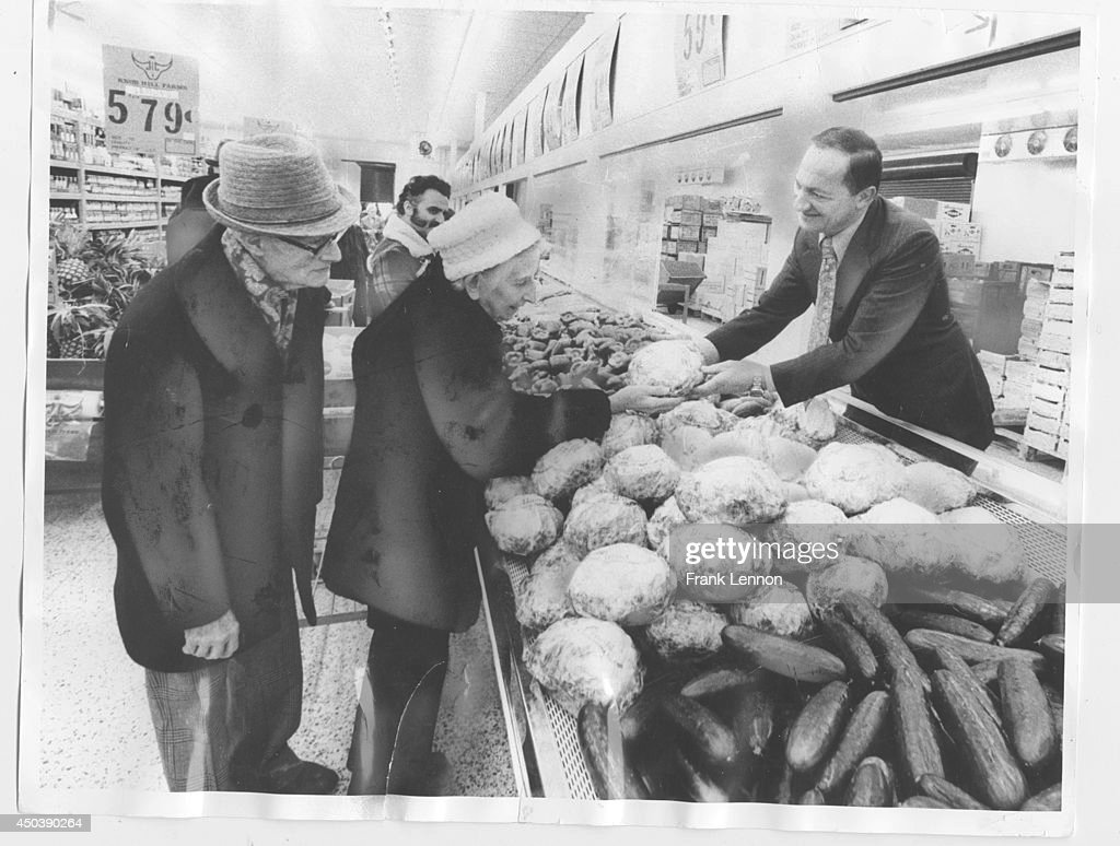 Feb 14, 1977 photo by Ron Bull -- On the waterfront, merchant Steve Stavro, owner of Knob Hill Farms, serves up produce for long-time customers Charlotte and James Robinson.August 26, 1975 photo by frank Lennon -- Surrounded by cashier trainees, Steve Stavro looks over his newest food store atLansdowne and Dundas.Feb. 10, 1977 photo by Ron Bull -- from the rail-car right into the store is one of the merchandising techniques Steve Stavro, owner of Knob Hill Farms, uses to buck big food chains. He shows customers Charlotte and James Robinson P.E.I. potatoes that are to be unloaded at hisnew Cherry St. store.May 14, 1986 Michael Stuparyk photos (2) showing Knob Hill farms new 240, 000 square feet store at weston Rd. and highway 410.