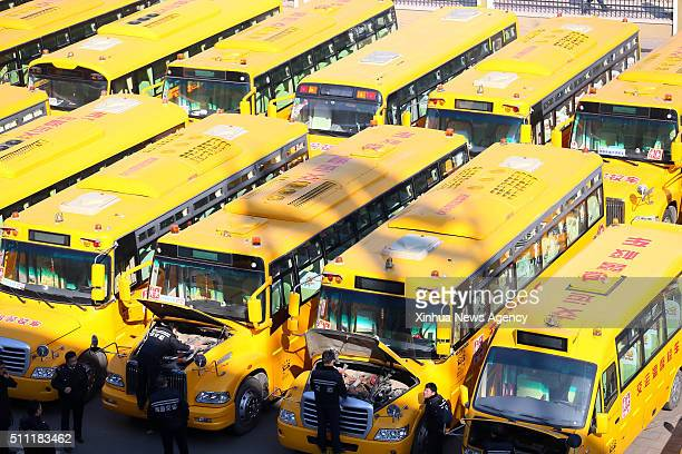 QINGDAO Feb 18 2016 Technicians of pubic transportation company check school buses in Qingdao east China's Shandong Province Feb 18 2016 Safety check...