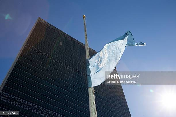 NATIONS Feb 18 2016 The United Nations flag is seen flying at halfmast in memory of the late former SecretaryGeneral Boutros BoutrosGhali at the UN...
