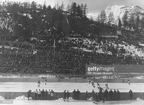 General view of the Canadian and Swiss teams during the Final of the Ice Hockey event at the 1928 Winter Olympic Games in St Moritz Switzerland...