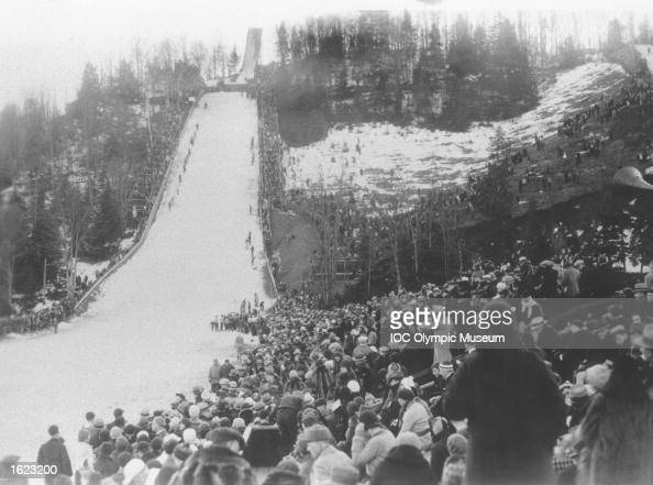 General view of the crowd during a Ski Jump event at the 1932 Winter Olympic Games in Lake Placid USA Mandatory Credit IOC Olympic Museum /Allsport