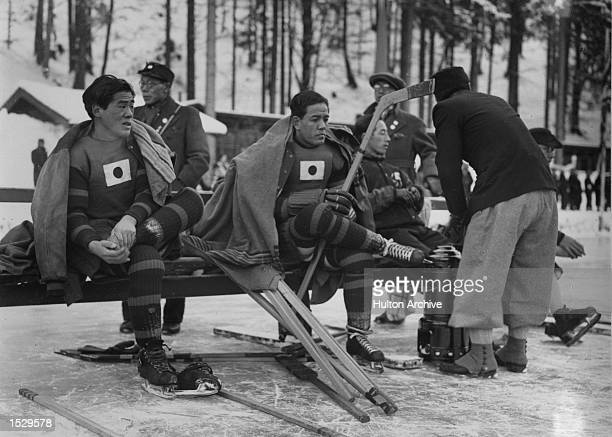 The Winter Olympics Garmisch Partenkirchen Members of the Japanese ice hockey team during a break in their match against Great Britain Great Britain...