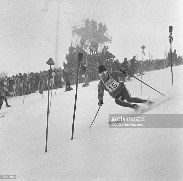 JeanClaude Killy negotiating some gates in the Men's Slalom event during the 1968 Winter Olympic Games in Chamrousse France Killy won the gold medal...