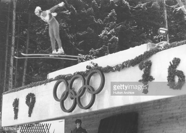 Winter Olympics Innsbruck A view of the skijumping competition showing the Olympic symbol Mandatory Credit Allsport Hulton/Archive