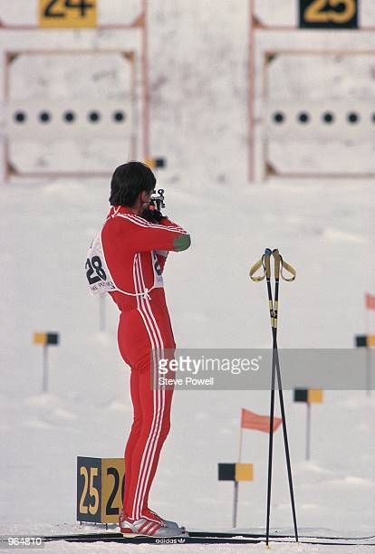 Alexander Tikhonov of the USSR takes aim in a biathlon event during the Winter Olympics Games in Lake Placid NY USA Mandatory Credit Steve Powell...