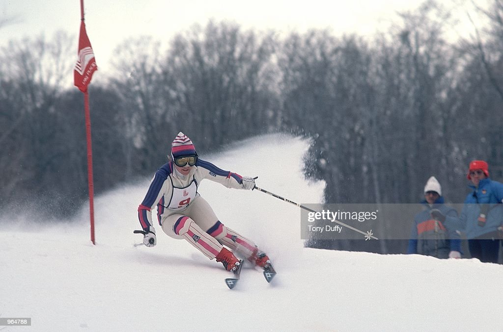 Hanni Wenzel of Liechtenstein in action in an alpine skiing event during the Winter Olympics Games in Lake Placid NY USA Wenzel won two gold medals...
