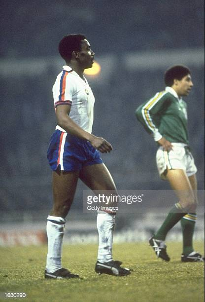 Laurie Cunningham of England and Chris Houghton of the Republic of Ireland keep an eye on the ball during a European Championship Qualifier at...