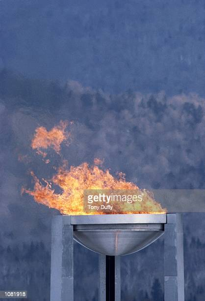 The Olympic Flame during the Winter Olympic Games at Lake Placid NY USA Mandatory Credit Tony Duffy /Allsport