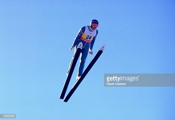 Eddie Edwards of Great Britain in action during the 90 metres Ski Jump event at the 1988 Winter Olympic Games in Calgary Canada Edwards finished in...