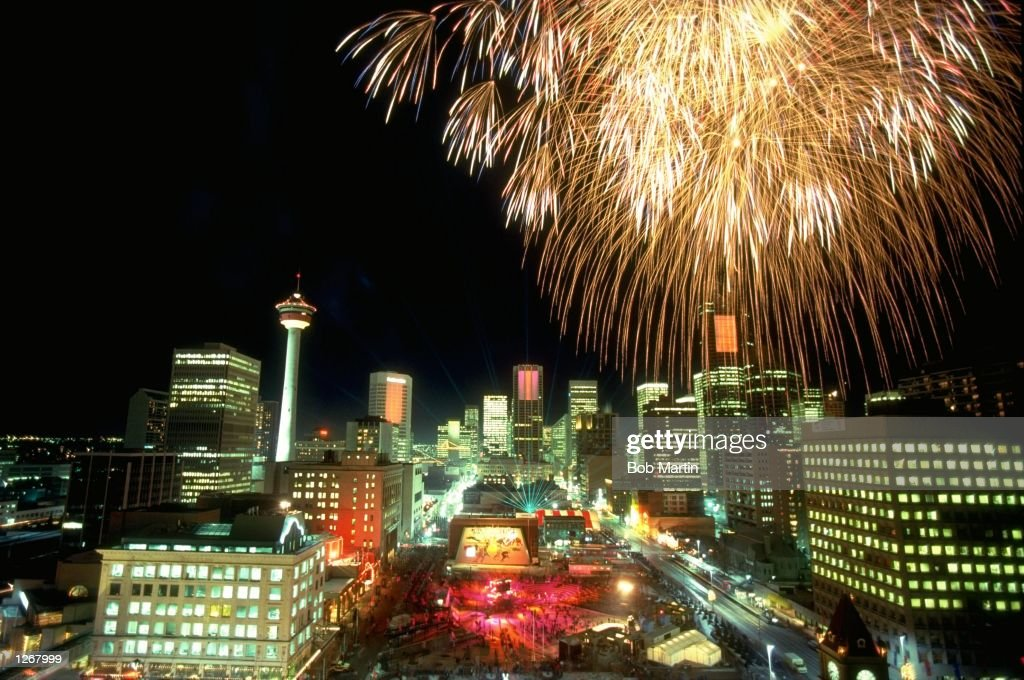 Fireworks explode over Calgary during the Closing Ceremony of the 1988 Winter Olympic Games in Canada. \ Mandatory Credit: Bob Martin/Allsport