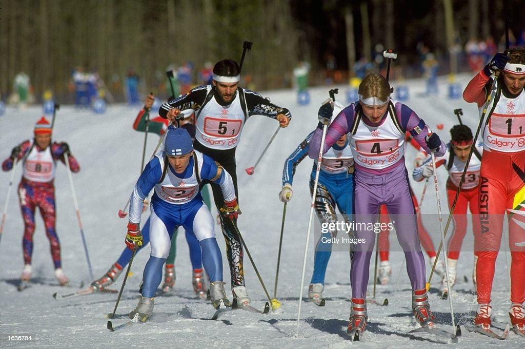 General view of the competitors during the Biathlon event at the 1988 Winter Olympic Games in Calgary, Canada. \ Mandatory Credit: Allsport UK /Allsport
