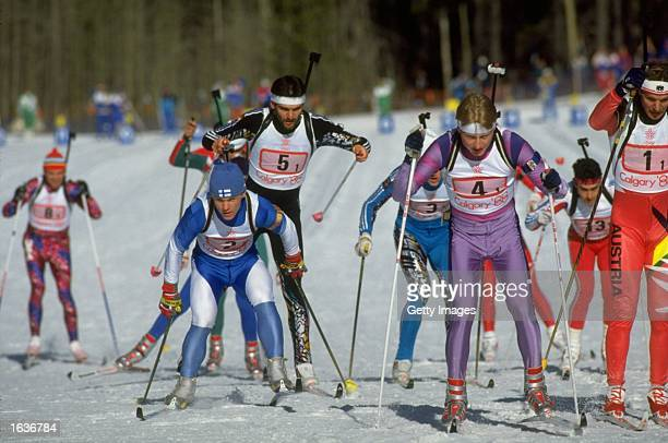General view of the competitors during the Biathlon event at the 1988 Winter Olympic Games in Calgary Canada Mandatory Credit Allsport UK /Allsport