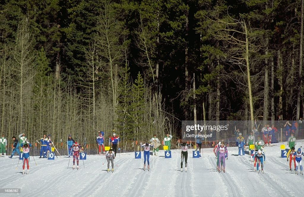 General view of the start of the 4 x 7.5 kilometres Biathlon event during the 1988 Winter Olympic Games in Calgary, Canada. \ Mandatory Credit: Allsport UK /Allsport