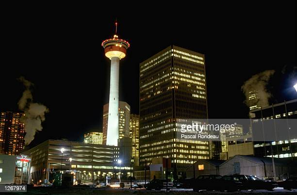 Night time view of Calgary City Centre during the 1988 Winter Olympic Games in Canada Mandatory Credit Pascal Rondeau/Allsport