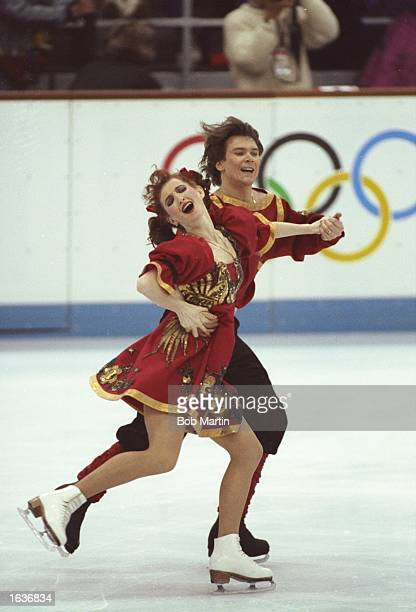 Marina Klimova and Sergei Ponomarenko both of the Eastern Unified Nations in action during the Original Dance section of the Ice Dancing event at the...