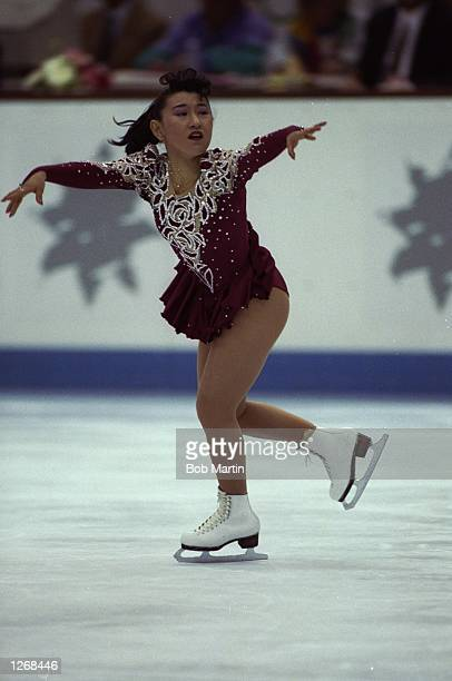 Midori Ito of Japan in action during the Women's Figure Skating event at the 1992 Winter Olympic Games in Albertville France Ito won the silver medal...