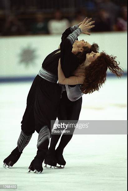 Sergei Ponomarenko and Marina Klimova both of the Eastern Unified Nations in action during the Ice Dancing event at the 1992 Winter Olympic Games in...