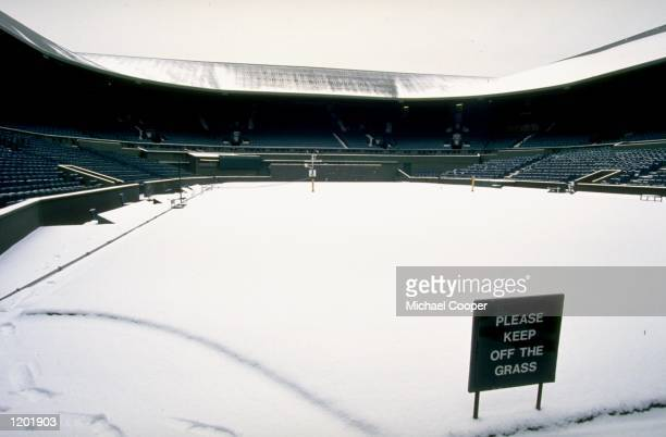 Snow covers the courts at The All England Lawn Tennis Club at Wimbledon in London Mandatory Credit Michael Cooper /Allsport