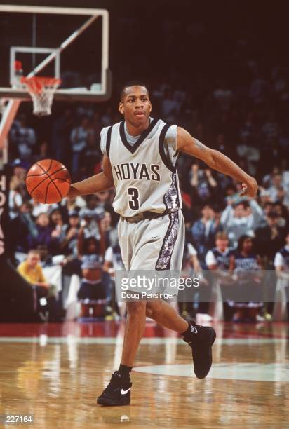 Allen Iverson of Georgetown University controls the ball during the Hoyas 7752 win over Villanova at McDonough Arena in Washington DC