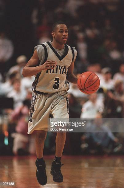 Allen Iverson of Georgetown University dribbles up court during the Hoyas 7752 win over Villanova at McDonough Arena in Washington DC