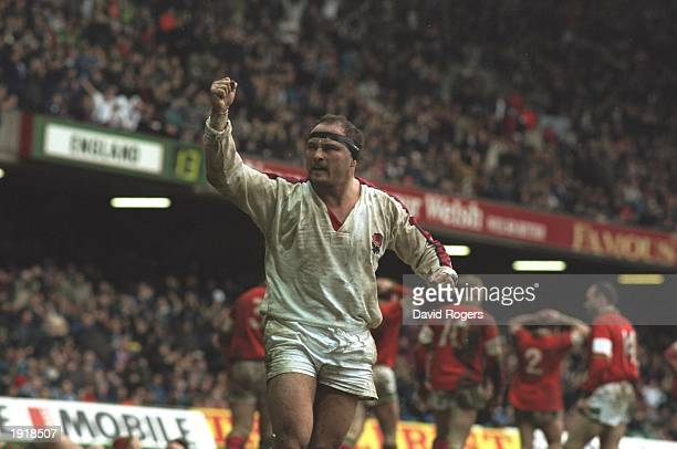 Brian Moore of England celebrates victory over Wales in the Wales v England match during the Five Nations Championships at Cardiff Arms Park in...