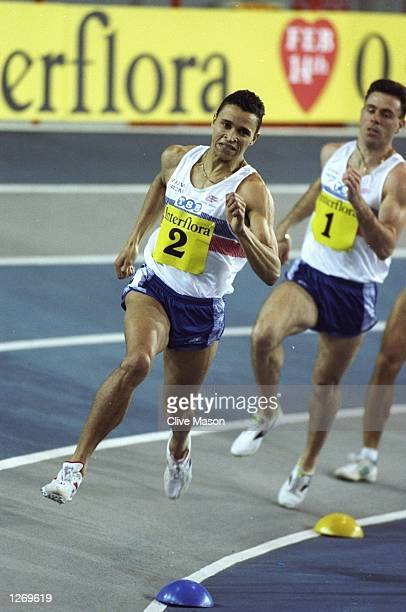 Martin Steele of Great Britain leads the field during the 800 metres event at the Interflora competition between Great Britain and France in Glasgow...