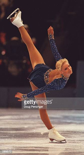 Nicole Bobek glides into first place in the senior womens competition at the US National Figure Skating Championships at the Civic Centre in...