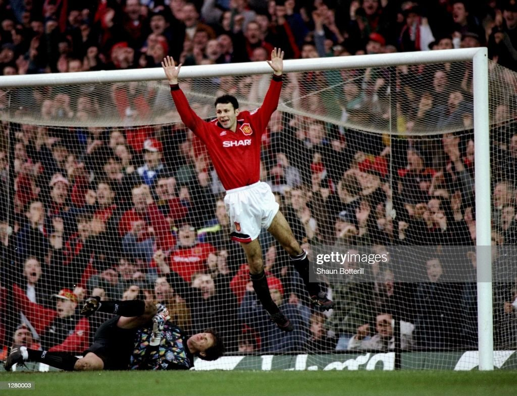 Ryan Giggs of Manchester United celebrates during the FA Cup fifth round match against Leeds United at Old Trafford in Manchester, England. Manchester United won the match 3-1. \ Mandatory Credit: Shaun Botterill/Allsport