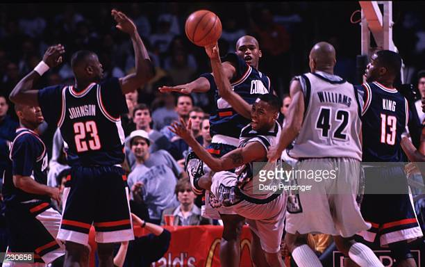 Allen Iverson of Georgetown throws a pass as the Hoyas defeat the Connecticut Huskies by 7765 at the US Air Arena in Landover Maryland