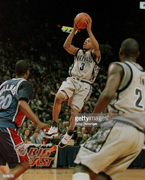 Allen Iverson shoots a jump shot as he and the Georgetown Hoyas defeated the Villanova Wildcats 10668 in their Big East finale at the US Air Arena in...
