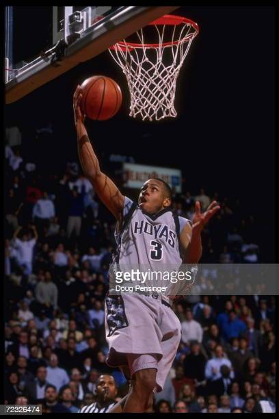Guard Allen Iverson of the Georgetown Hoyas goes up for the slam against the Connecticut Huskies at the USAir Arena in Washington DC Georgetown...