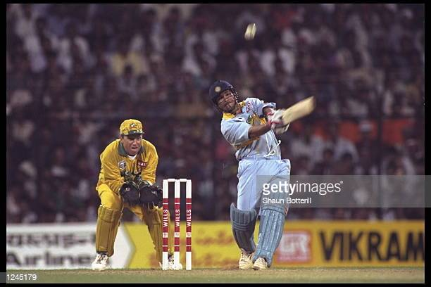 Sachin Tendulkar of India on his way to an innings of 92 in the game against Australia during the cricket world cup match in Bombay India