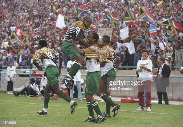 South African players celebrate a goal during the African Nations Cup Final against Tunisia in South Africa South Africa won the match 20 Mandatory...