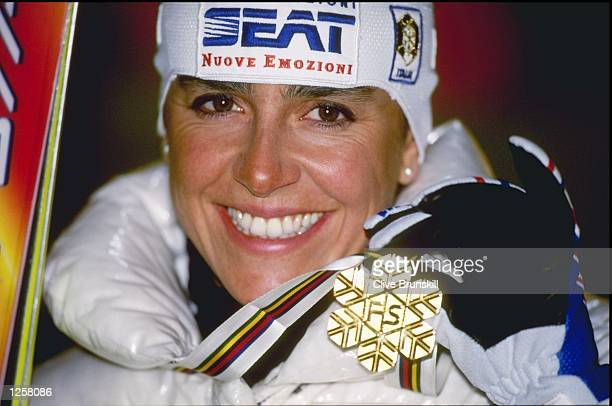 A portrait of Deborah Compagnoni of Italy with her gold medal after winning the slalom at the Alpine World Championships in Sestriere Itlay Mandatory...