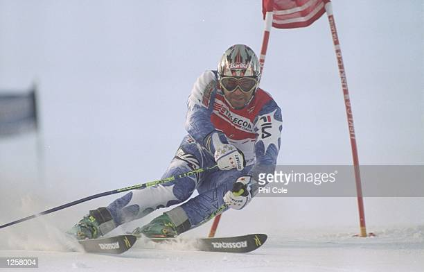 Alberto Tomba of Italy in action during the mens Giant Slalom at the Alpine World Championships in Sestriere Italy Tomba did not finish Mandatory...