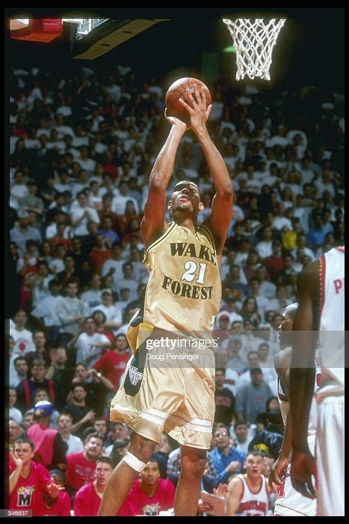 Center Tim Duncan of the Wake Forest Demon Deacons goes up for two during a game against the Maryland Terrapins at the Cole Field House in College...