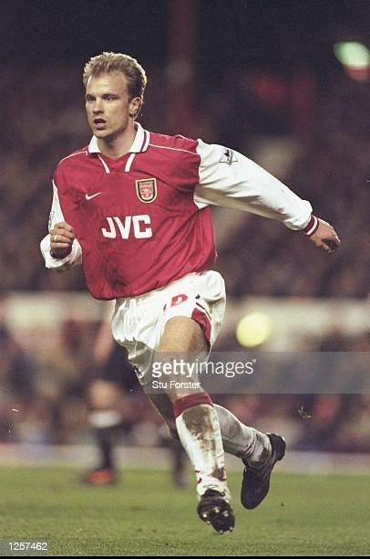 Dennis Bergkamp of Arsenal in action during the FA Carling Premier league match between Arsenal and Manchester United at Highbury in London United...