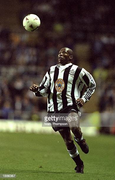 Faustino Asprilla of Newcastle United in action during an FA Carling Premiership match against Leicester City at St James'' Park in Newcastle England...