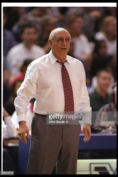 Fresno State Bulldogs head coach Jerry Tarkanian looks on during a game against the San Jose State Spartans at the Event Center in San Jose...