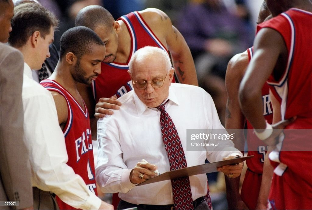 Freson State Bulldogs head coach Jerry Tarkanian confers with his players during a game against the San Jose State Spartans at the Event Center in...