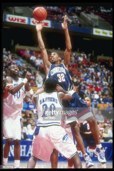 Guard Richard Hamilton of the Connecticut Huskies goes up for two during a game against the Seton Hall Pirates at the Continental Airlines Arena in...