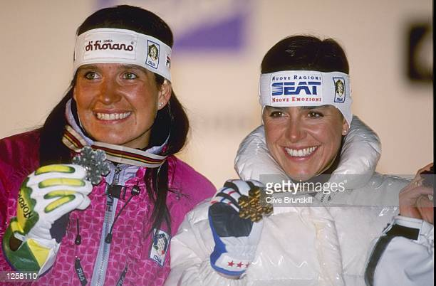 Lara Magoni of Italy silver medalist stands next to Deborah Compagnoni of Italy the gold medalist in the slalom at the Alpine World Championships in...