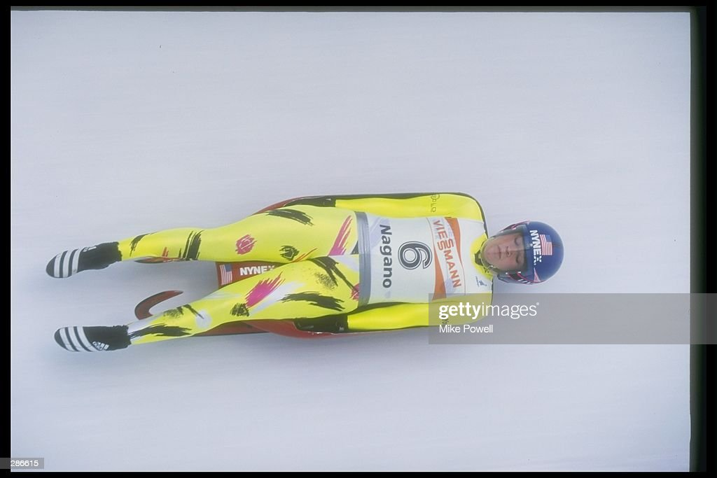 MaryAnn Baribault of the USA luges down the track at the Luge World Cup at Hakuba-Nagano, Japan. They won the 1996- 1997 World Cup. Mandatory Credit: Mike Powell /Allsport