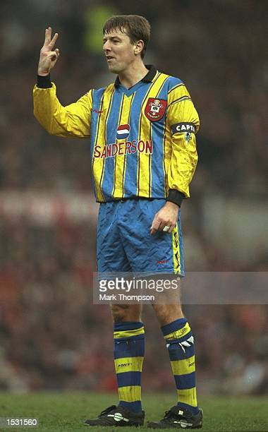 Matthew Le Tissier of Southampton makes a point of the situation during the FA Carling premier league match between Manchester United and Southampton...