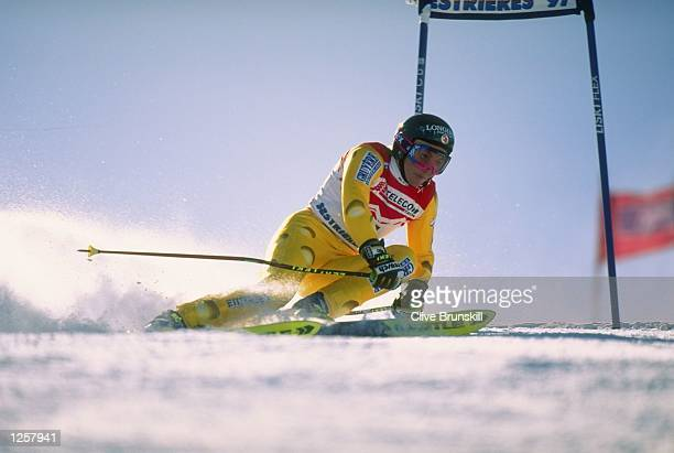 Sonja Nef of Switzerland in action during the Womens Giant Slalom at the Alpine World Championships in Sestriere Itlay Nef finished ninth overall...