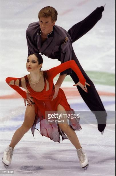 Anjelika Krylova and Oleg Ovsyannikov of Russia compete in the ice dance competition during the Winter Olympics in Nagano Japan The pair won the...