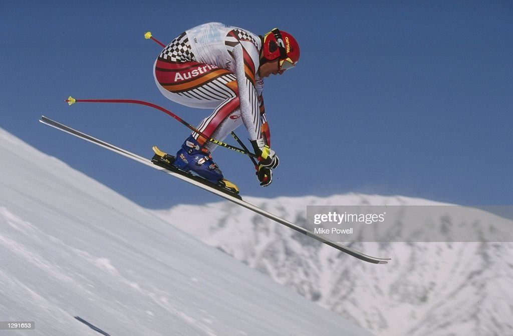 Hermann Maier of Austria in action in the mens downhill at Happo''One during the 1998 Winter Olympic Games in Nagano Japan Maier fell and didnt...
