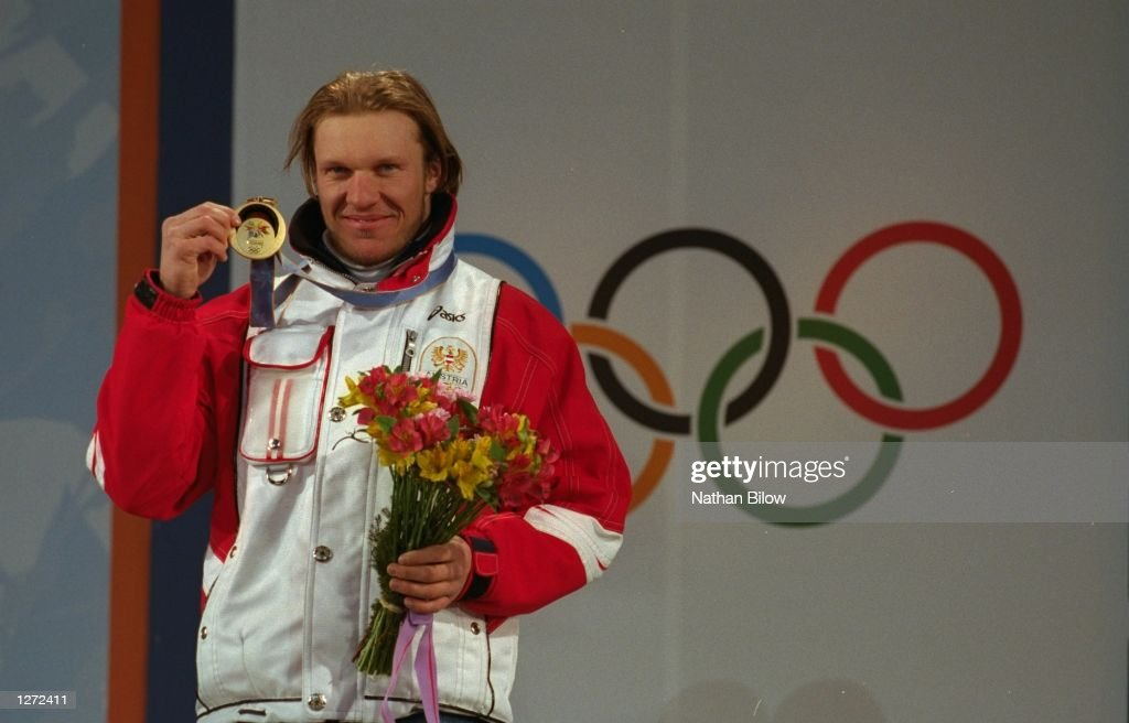Hermann Maier of Austria wins the gold in the mens Super G at Happo''One during the 1998 Winter Olympic Games in Nagano Japan Mandatory Credit Nathan...