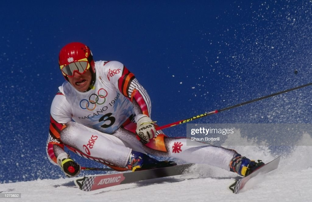 Hermann Maier of Austria wins the gold medal in the mens giant slalom at Shiga Kogen during the 1998 Olympic Winter Games in Nagano Japan Mandatory...
